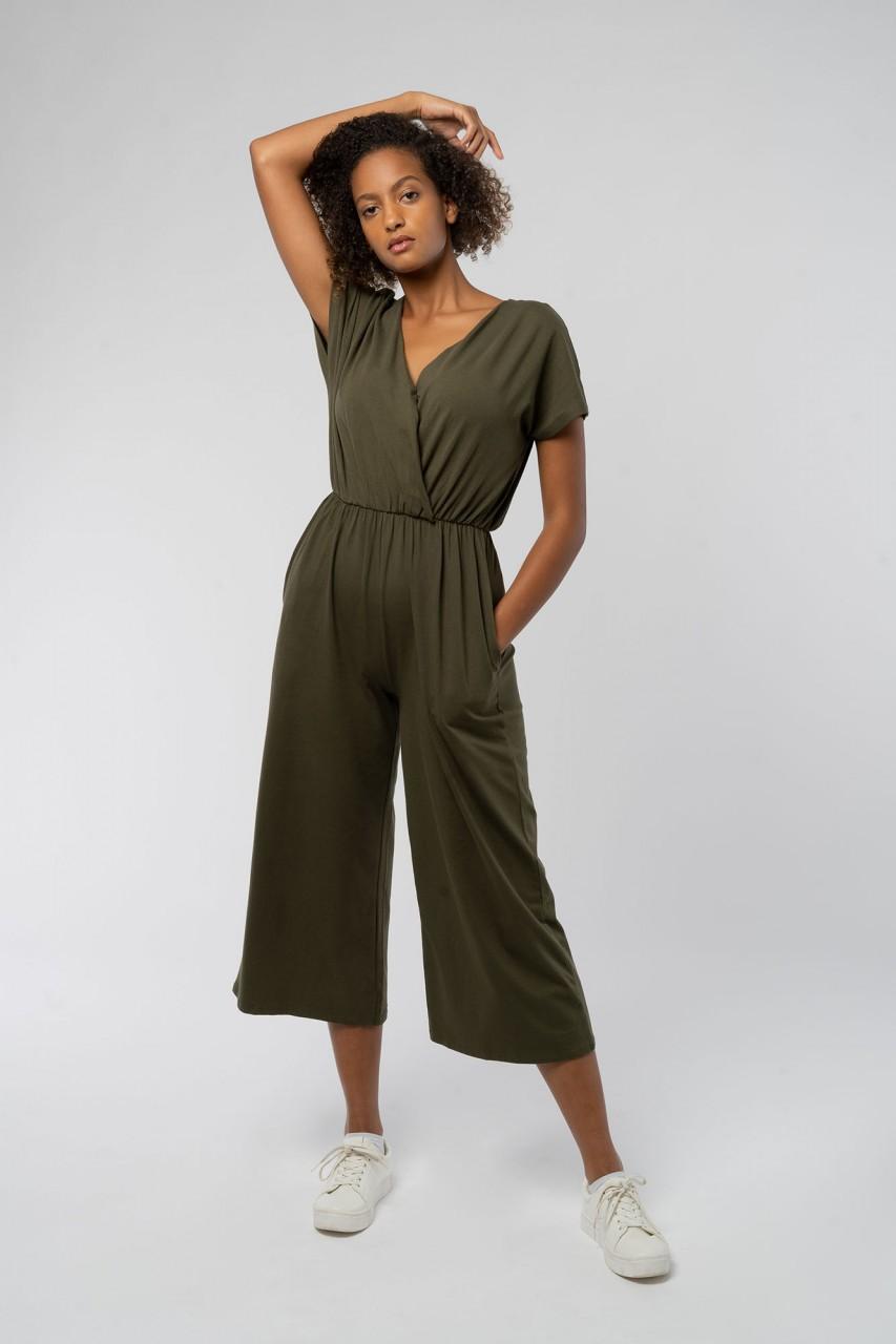 Khaki Evelyn Jumpsuit aus Bio Baumwolle