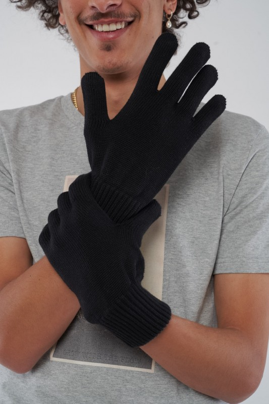 Ecoknit Handschuhe Schwarz aus Bio Baumwolle