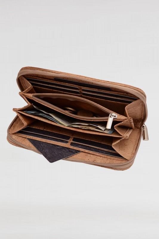 Damen Geldbeutel aus Kork mit Reißverschluss