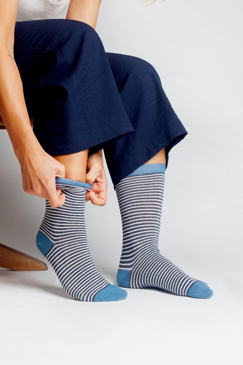 Gestreifte Socken aus Bio Baumwolle für Frauen