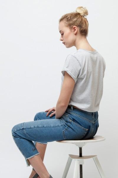 Gestreiftes Vintage T-Shirt für Frauen