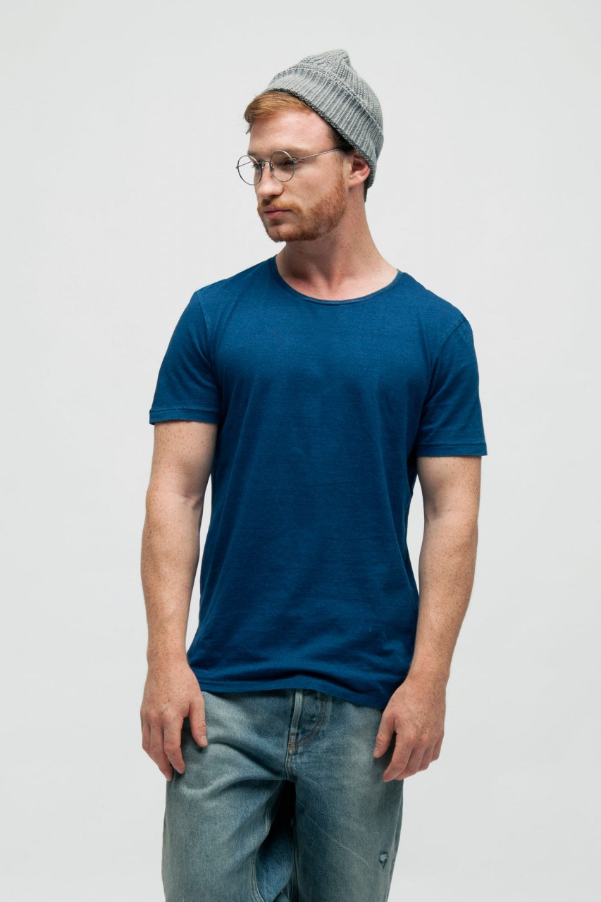 Washed Denim T-Shirt aus Bio Baumwolle