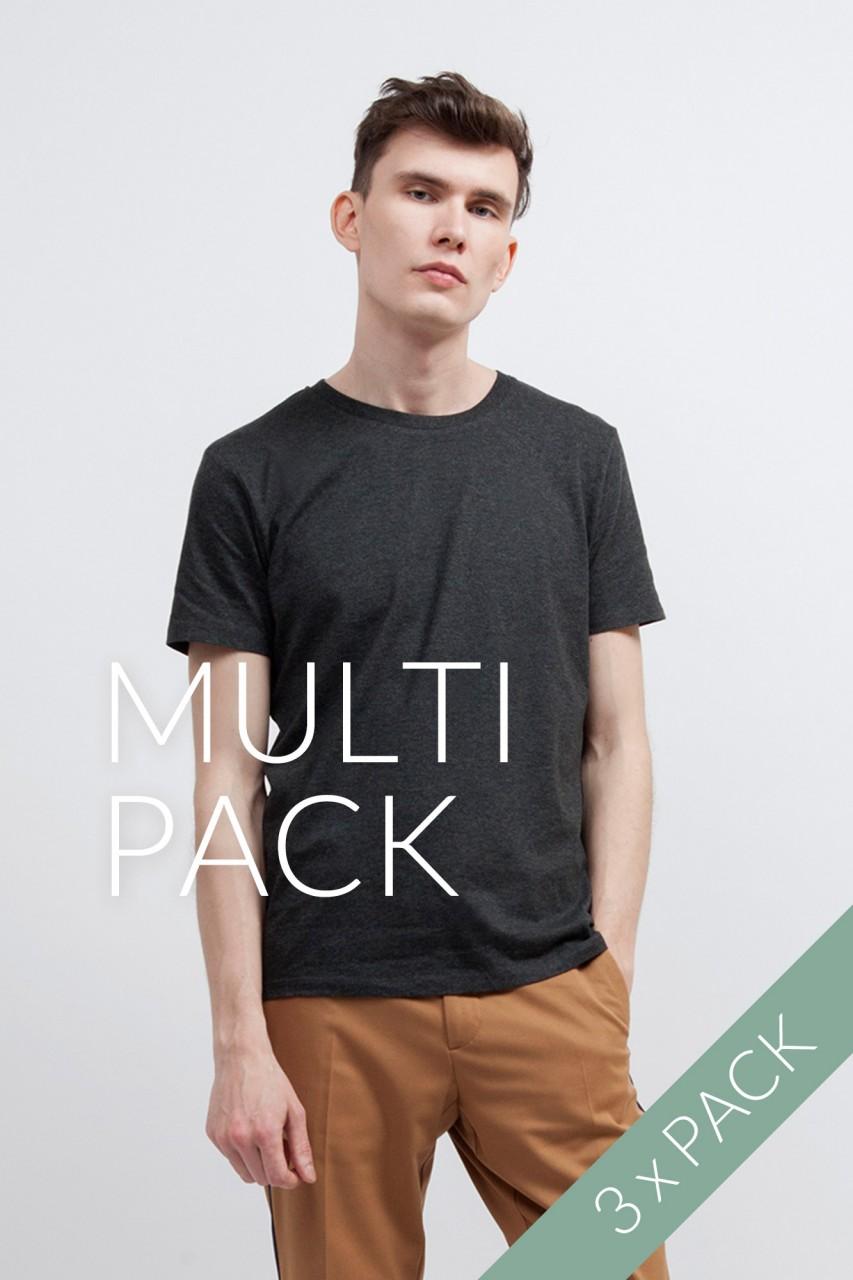 3er Pack Standard Bio T-Shirt Dark Grey