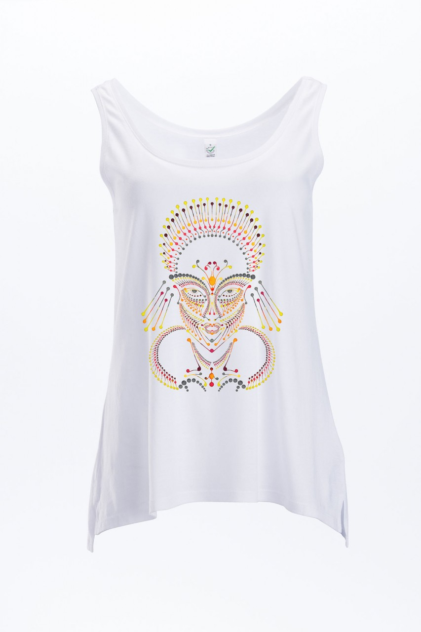 Face Ornament Tencel Tank Top Frauen